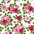 Seamless Pattern With Red And Pink Roses On White. Stock Photography - 34516902