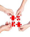 Hands And Puzzle Royalty Free Stock Image - 34517646