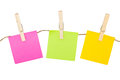 Colorful Sticky Notes With Clothespins. Stock Photography - 34544562