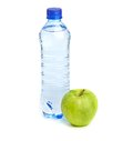 Bottle Of Sparkling Water And Green Apple Stock Image - 34558751