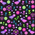 Cute Seamless Pattern With Birds And Flowers For T Royalty Free Stock Images - 34560839
