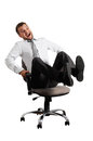 Merry Businessman Rolling On The Office Chair Stock Photo - 34571450