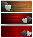 Banners With Stone Hearts Royalty Free Stock Photo - 34571685