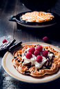 Sweet And Delicious Waffles With Fruits Stock Photos - 34576413
