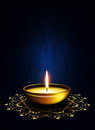 Oil Lamp With Place For Diwali Greetings Over Dark Background Stock Images - 34583084