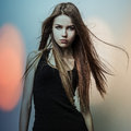 Young Sensual Romantic Beauty Woman. Multicolored Pop Art Style Photo. Royalty Free Stock Photo - 34583855