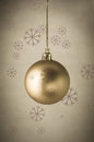 Gold Christmas Bauble With Snowflakes Royalty Free Stock Photo - 34594575