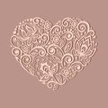 Silhouette Of The Heart Symbol Decorated With Flor Royalty Free Stock Photography - 34596277