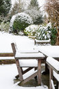 Garden Furniture Under Snow Royalty Free Stock Images - 34612639