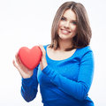 Smiling Young Woman Hold Red Heart, Valentine Day Symbol. Girl Royalty Free Stock Photography - 34625467