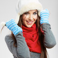 Casual Winter Style Yong Woman Portrait. Girl Studio Isolated, Royalty Free Stock Images - 34625819
