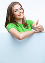 Woman Holding Blanc Card Royalty Free Stock Image - 34627916