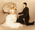 Romantic Married Couple Bride Groom Vintage Photo Stock Image - 34638101