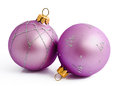 Two Lilac Christmas Balls Isolated On A White Stock Images - 34649134