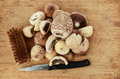 Mushrooms On A Chopping Board Stock Photography - 34650852