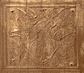 Ancient Wood Carving On Antique Church Old Door Royalty Free Stock Photo - 34658435