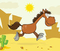 Smiling Horse Cartoon Character Running Over Weste Royalty Free Stock Photo - 34674585
