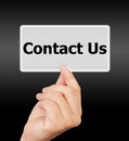 Man Hand Touching Button Contact Us Keyword. Royalty Free Stock Images - 34680729