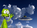 Alien With UFO 4 Royalty Free Stock Photo - 3474425