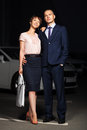 Happy Young Fashion Couple On The Night City Street Stock Photography - 34707082