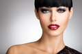 Woman With  Sexy Red Lips And Fashion Color Eye Makeup Royalty Free Stock Images - 34710789