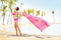 Woman Happy Enjoying Beach - Scarf Blowing In Wind Royalty Free Stock Images - 34735539