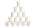 Pyramid Of White Paper Cups Royalty Free Stock Image - 34740636