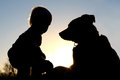 Silhouette Of Child Playing With Dog Stock Photos - 34764603