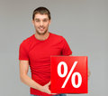 Man In Shirt With Red Percent Sale Sign Stock Photography - 34772352