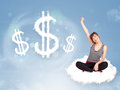 Young Woman Sitting On Cloud Next To Cloud Dollar Signs Royalty Free Stock Image - 34796276