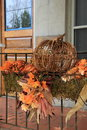 Pretty Fall Decoration On Metal Railing Royalty Free Stock Photo - 34803455