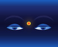 Eyes On Deep Blue Background Royalty Free Stock Images - 34811049