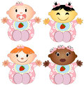 Vector Illustration 4 Babies Girl. Four Children Stock Images - 34823454