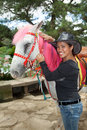 Asian Woman With A Horse Stock Photo - 34830100