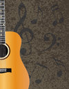 Acoustic Guitar With Musical Notes Illuustration Royalty Free Stock Image - 34837506