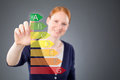 Woman With Energy Label For Efficiency Stock Photos - 34840853