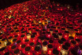 Thousands Of Candles Illuminating A Cemetery During  All Saint S Day Stock Photos - 34863543