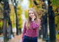 Pretty Young Girl In A Fall Park Stock Photography - 34887642