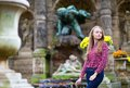 Beautiful Young Girl In A Fall Park Stock Photos - 34887653