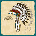Illustration With Native American Indian Chief Headdress Stock Photos - 34899643
