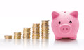 Piggy Bank With Euro Coin Stacks - Concept Of Increase Royalty Free Stock Images - 34922109