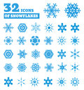 Snowflakes. A Set Of 32 Icons. Royalty Free Stock Photography - 34925067