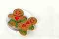 Christmas Gingerbread Man And Woman On Plate Isola Royalty Free Stock Photo - 34926015