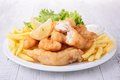 Fish And Chips With Salad Royalty Free Stock Image - 34928066