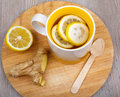 Tea With Lemon And Ginger As Natural Medicine Royalty Free Stock Photography - 34944457