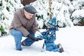 Grandfather And Toddler Boy  On Winter Day Royalty Free Stock Image - 34945106