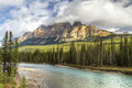 Castle Mountain Above Bow River Stock Images - 34945344