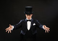 Magician In Top Hat Showing Trick Royalty Free Stock Image - 34953686