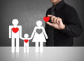 Happy Family And Big Red Hearts Royalty Free Stock Images - 34956319