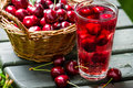 Fresh Juice Made Of Sweet Cherries And Ice Royalty Free Stock Image - 34963076